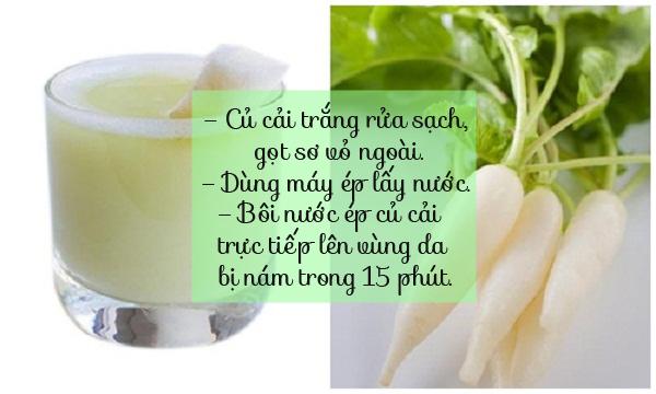 chữa nám da mặt bằng nước ép củ cải trắng